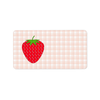 Red Strawberry on Gingham Check. Custom Address Labels