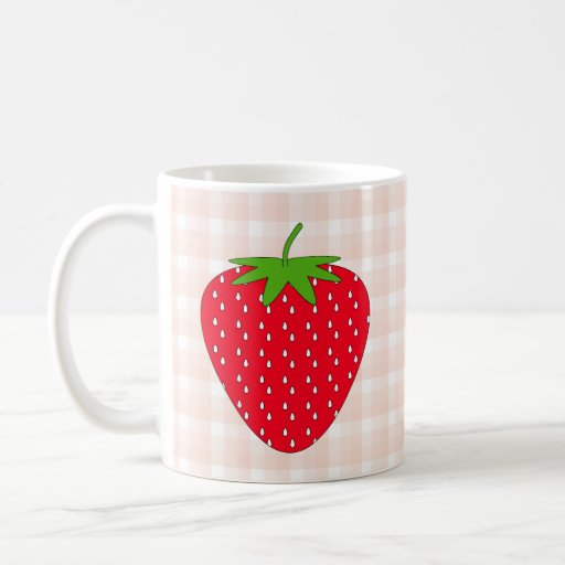 Red Strawberry on Gingham Check. Mugs