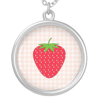 Red Strawberry on Gingham Check Necklace