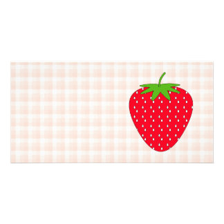 Red Strawberry on Gingham Check. Custom Photo Card