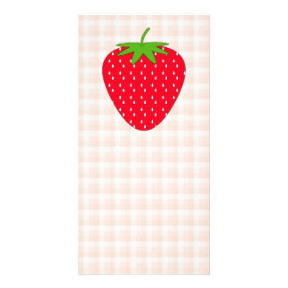 Red Strawberry on Gingham Check. Photo Cards