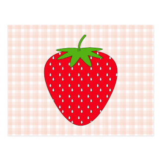 Red Strawberry on Gingham Check. Post Card