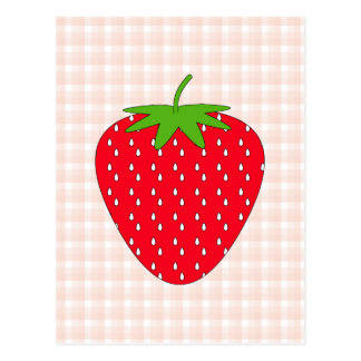 Red Strawberry on Gingham Check. Post Cards