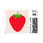 Red Strawberry on Gingham Check. Postage Stamp
