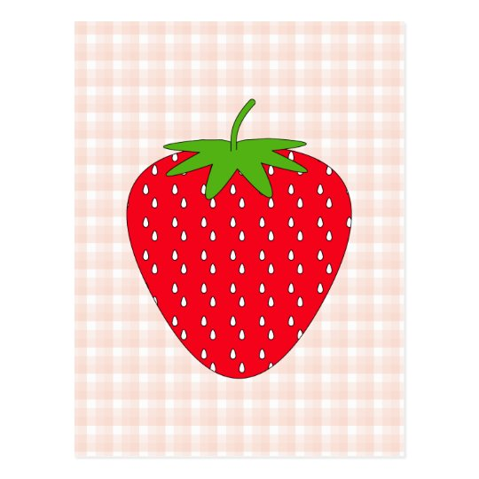 Red Strawberry on Gingham Check. Postcard