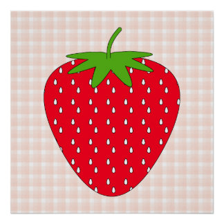 Red Strawberry on Gingham Check. Print
