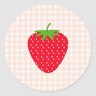 Red Strawberry on Gingham Check. Round Stickers