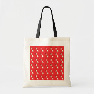 Red Strawberry Pattern. Canvas Bags