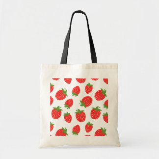 Red Strawberry Pattern Budget Tote Bag
