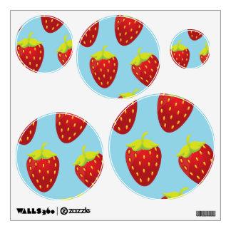 Red Strawberry Pattern Blue Background Room Sticker
