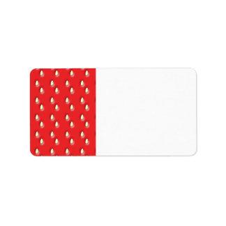 Red Strawberry Pattern. Address Label