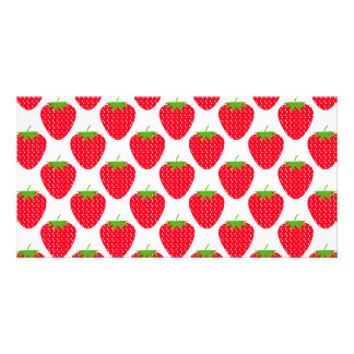 Red Strawberry Pattern. Photo Cards