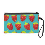 Red Strawberry Pattern Teal Background Wristlet