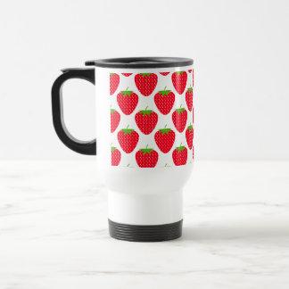 Red Strawberry Pattern. Travel Mug