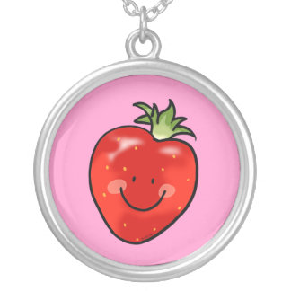 Red strawberry round pendant necklace