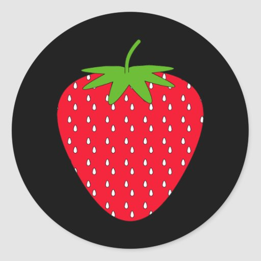 Red Strawberry. Round Stickers