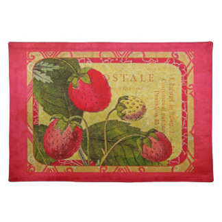 Red Strawberry Vintage French Fruit Postcard Cloth Placemat