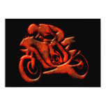 "Red Streaks Embossed Motorcycle Racer 5"" X 7"" Invitation Card"
