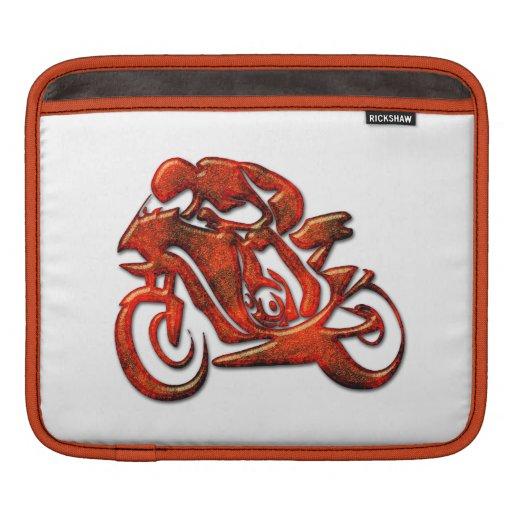 Red Streaks Embossed Motorcycle Racer iPad Sleeves