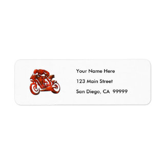 Red Streaks Embossed Motorcycle Racer Return Address Label