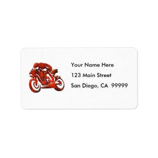 Red Streaks Embossed Motorcycle Racer Address Label