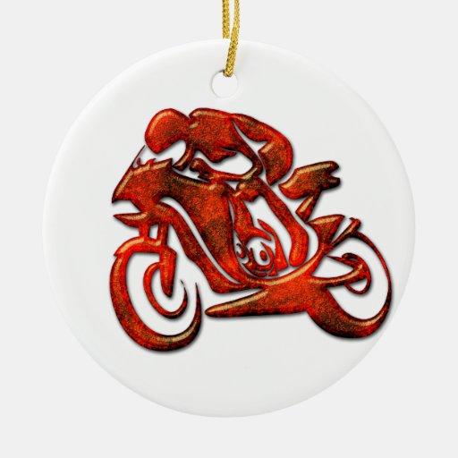 Red Streaks Embossed Motorcycle Racer Ornaments