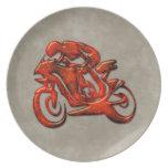 Red Streaks Embossed Motorcycle Racer Plate