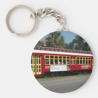 Red Streetcar Basic Round Button Keychain