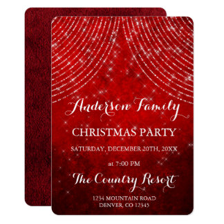 Red String Light Annual Christmas Party Card