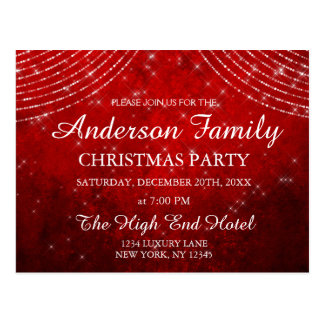 Red String Light Annual Christmas Party Invitation Postcard