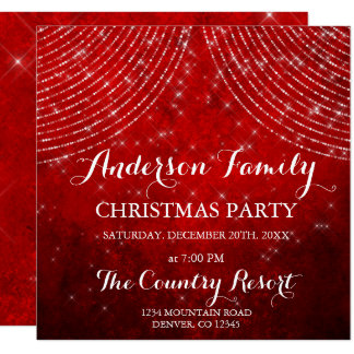 Red String Light Family Christmas Party Card