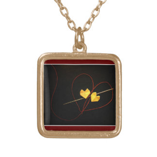 Red String of Fate Square Pendant Necklace