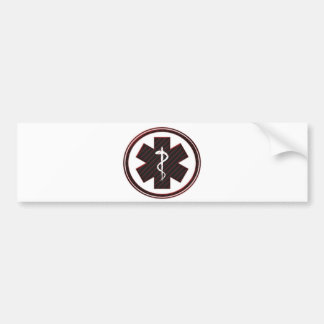 Red Strip Caduceus Bumper Sticker