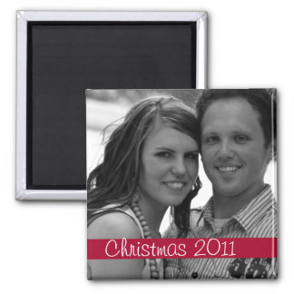 Red Strip Christmas Holiday Photo Magnet
