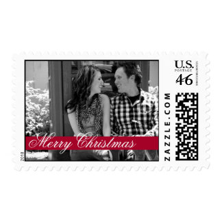 Red Strip Merry Christmas Holiday Photo Stamps