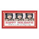 Red stripe 3 photo card