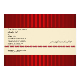 Red Stripe and Ivory Band with Rubies Wedding Card