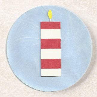 Red Stripe Candle Coaster