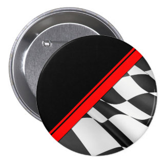 Red Stripe Checkered Flag Metal Button