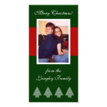 Red Stripe Christmas Trees Photo Card