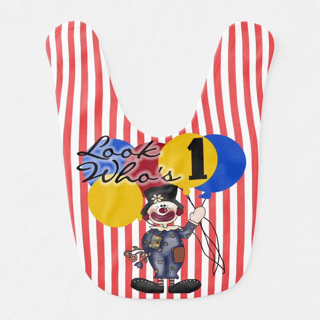 Red Stripe Circus Clown 1st Birthday Bib