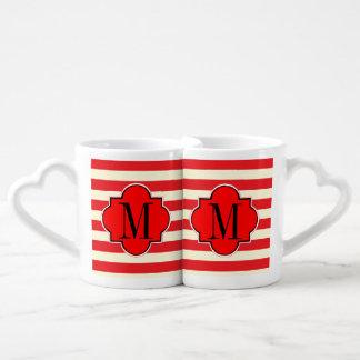Red stripe coffee mug set