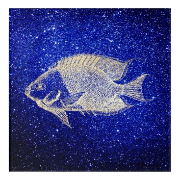 Beach Themed Red Stripe Fish Sea Ocean Blue Foxier Gold Aqua Acrylic Wall Art