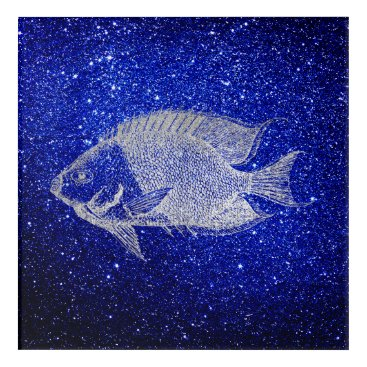 Beach Themed Red Stripe Fish Sea Ocean Blue Silver Gray Aqua Acrylic Wall Art