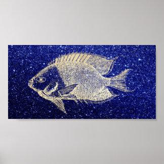 Red Stripe Fish Sea Ocean Navy Aqua Foxier Gold Poster