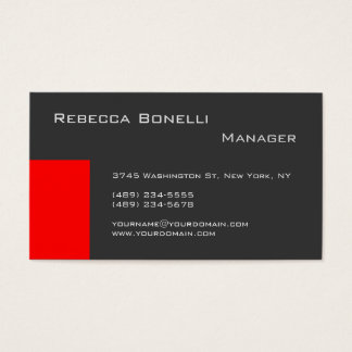 Red Stripe Grey Stylish Manager Business Card