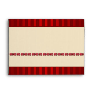 Red Stripe Ivory Band with Row of Rubies Envelope