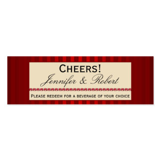 Red Stripe Ivory Band with Row Rubies Drink Ticket Mini Business Card