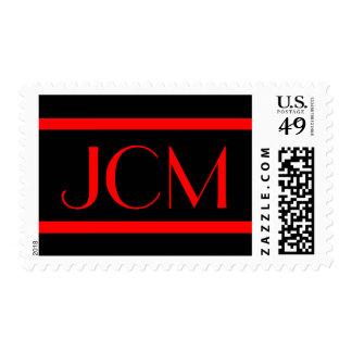 Red Stripe Monogram Initials on Black Postage