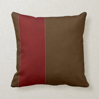 Red Stripe on Chocolate Brown Suede Throw Pillows